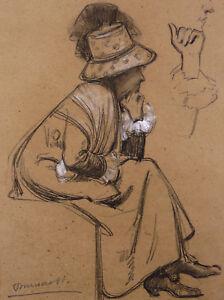 Hector-Dumas-1872-1965-Charcoal-Impressionist-Gerome-Bouguereau-Merson-Arzon