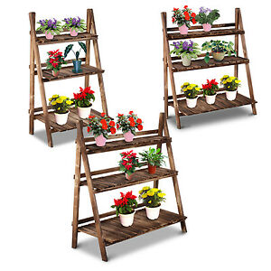 flower pot stand 3 tier shelves display holder wooden fir ladder planter garden ebay. Black Bedroom Furniture Sets. Home Design Ideas