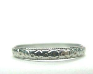 Antique-Art-Deco-Bridalcraft-Wedding-Band-18K-White-Gold-Ring-Size-5-5-UK-K1-2