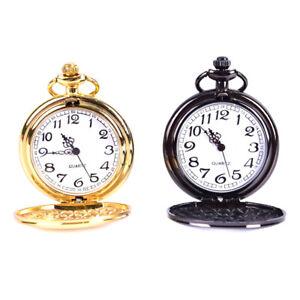 Retro-Smooth-Black-Pocket-Watch-Silver-Polish-Quartz-Pendant-Engraved-G-Nd
