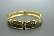 Vintage 80s Balenciaga logo enamel red cabochon glasses bracelet bangle
