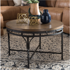 Astonishing Details About New Round Industrial Style Wood Coffee Table Iron Base W Antique Bronze Finish Caraccident5 Cool Chair Designs And Ideas Caraccident5Info
