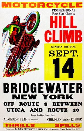 1958 - Bridgewater NY - Motorcycle Hill Climb - Promotional Advertising Poster