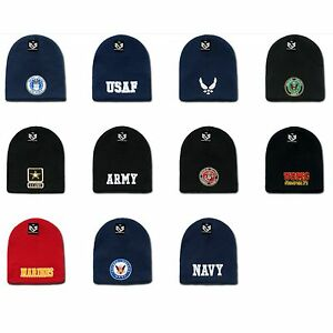 Image is loading 1-Dozen-Embroidered-Military-Short-Beanies-Knit-Caps-