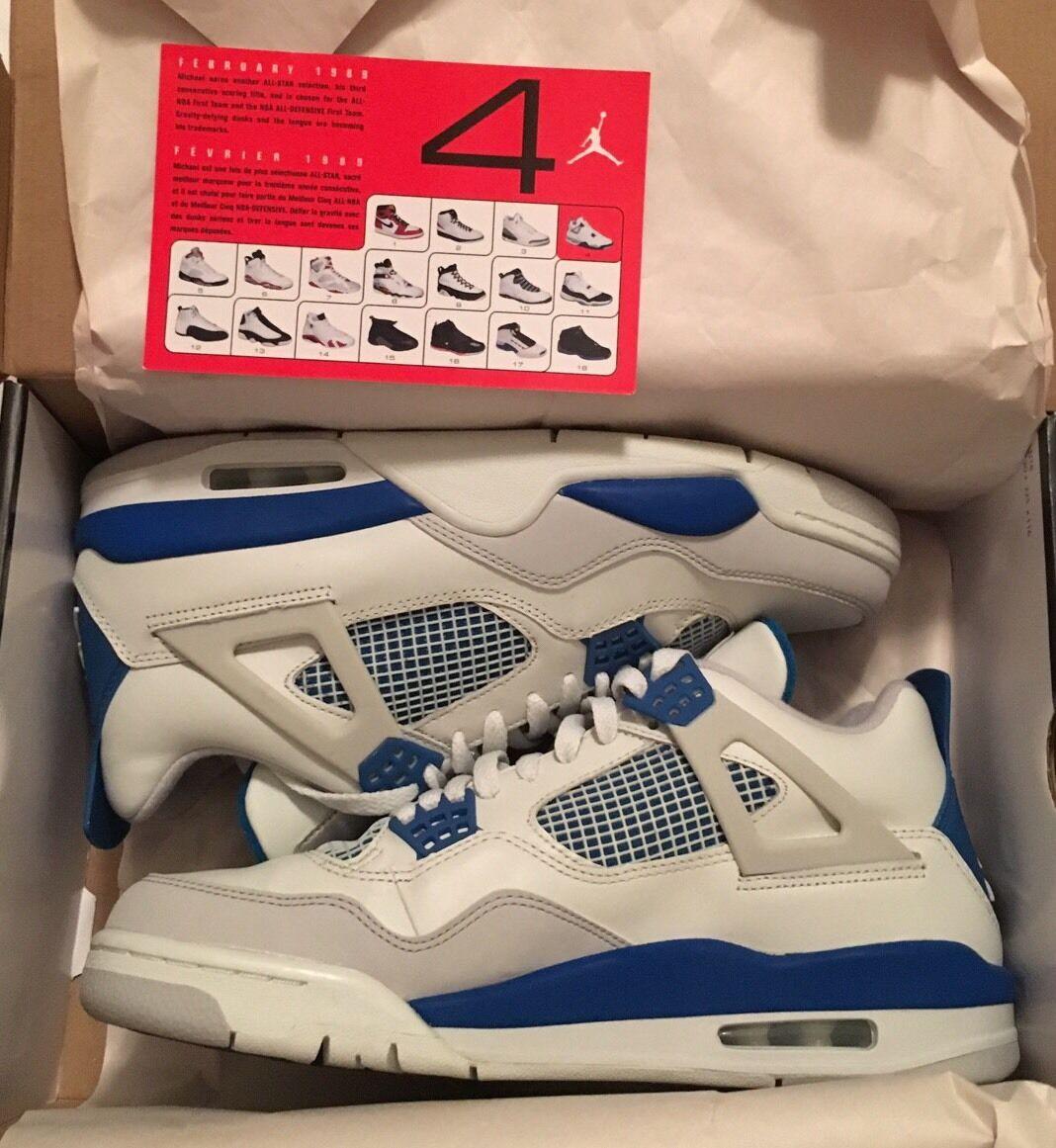 Nike Air Jordan Retro 4 IV Azul, gris militar talla descuento 10 super rarasEl último descuento talla zapatos para hombres y mujeres cf90db