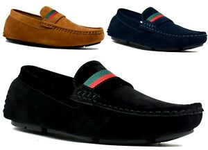 mens casual slip on smart loafers moccasins driving party
