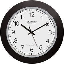La Crosse 10 Inch Atomic Automatic Setting Analog Indoor Wall Clock Black