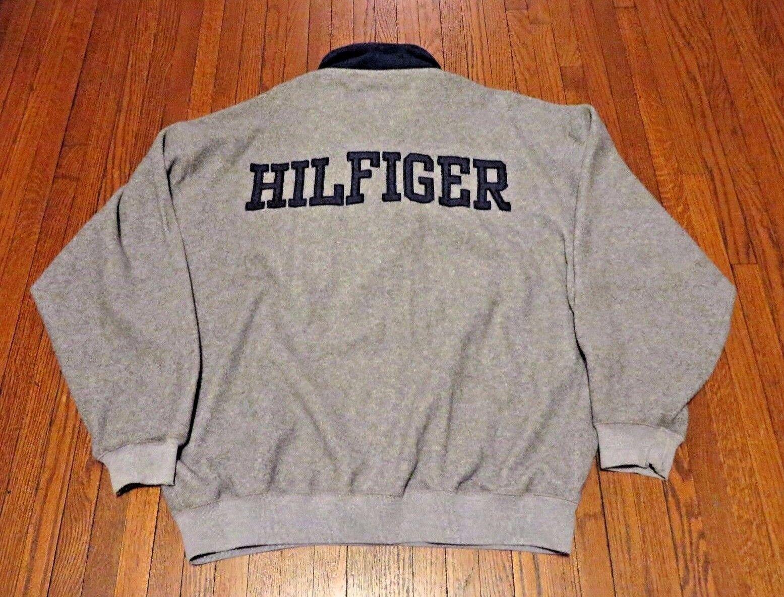 VTG 90's Tommy Hilfiger Athletics Spell Out Grau 1/2 Zip Fleece Pulllover sz XL