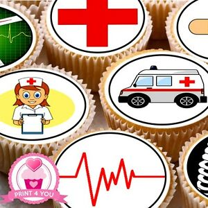 24-Edible-cake-toppers-decorations-medical-Doctor-Nurse-hospital-Emergency-ND2