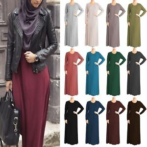 Womens-Plain-Abaya-Islamic-Burkha-Kaftan-Farasha-Jilbab-Ladies-Long-Maxi-Dress