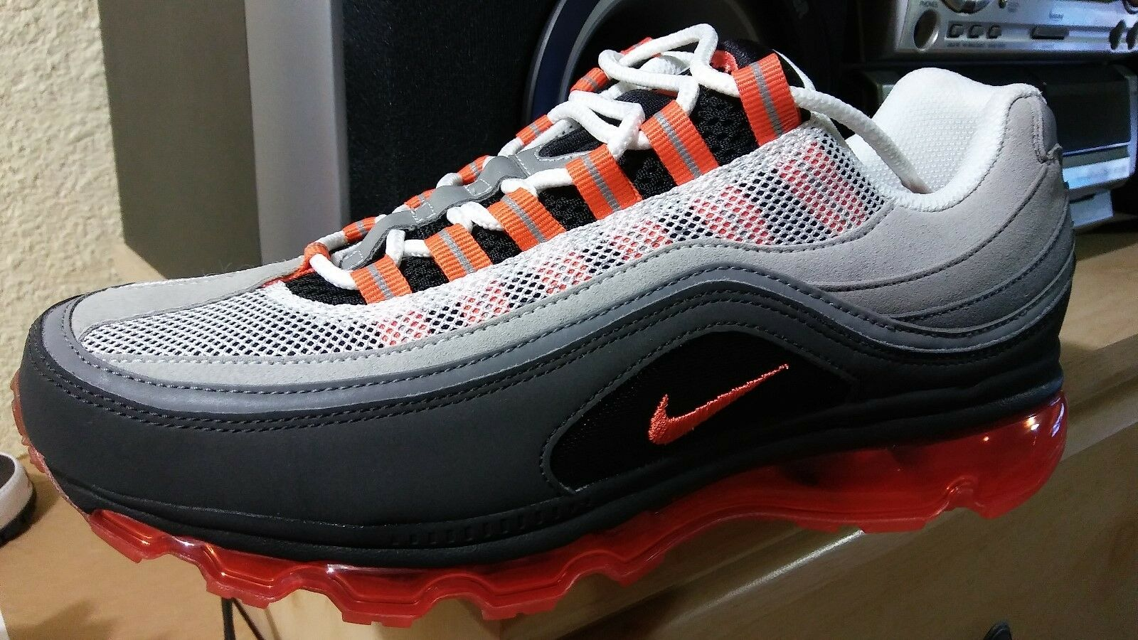 Nike air max 24 ore su 24 uomini sz pennino raro esclusiva neutrale grey / arancione fiamma