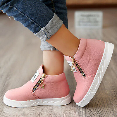 Fashion Kid's GIRLS Sports Casual Leather Sneakers Shoes Winter Zipper Boots