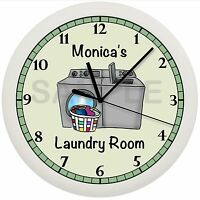 Laundry Room Wall Clock Green Decor Gift Personalized Customize 10 Inch