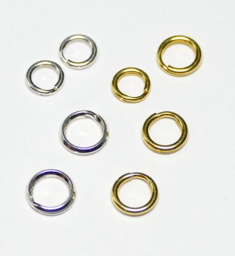Spaltringe Schlüsselringe Ringe 925er Silber oder vergoldet 4x Bacatus