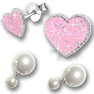 2 Paar Ohrringe Kinder Ohrstecker Damen Mädchen 925 echt Silber Sterling Perlen
