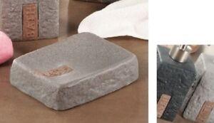 Dispenser porta sapone saponetta in ceramica da bagno effetto