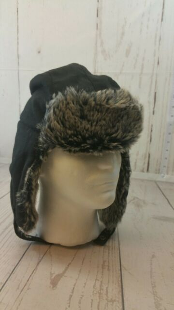 APT 9 Black Textured Faux Fur Trapper Hat Ear Flaps Men s Large   XL ... 10dfd5cd0c2