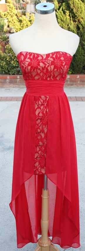 NWT HAILEY LOGAN  RED NUDE Party Dance Prom Gown 3