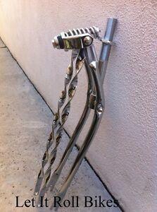 "BICYCLE SPRINGER FORK 20/"" BENT TWISTED BARS CHROME CRUISER LOWRIDER CHOPPER"