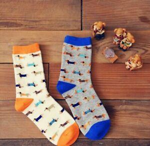 Lindo-Regalo-De-Perro-Salchicha-Dachshund-Novedad-Calcetines-Azul-O-Naranja