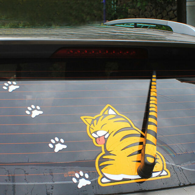 Cartoon Cat Moving Tail Paws Sticker Window Reflective Sheeting 3d Car Decal Rear Wiper Funny Outside Windshield Auto Decoration Auto Decor 3d Car Decalspaw Stickers Aliexpress
