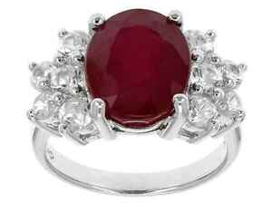 c5a23fd63b19 Details about Gorgeous Large 6.5ct Genuine Madagascar Ruby   Natural White  Zircon Ring - NEW