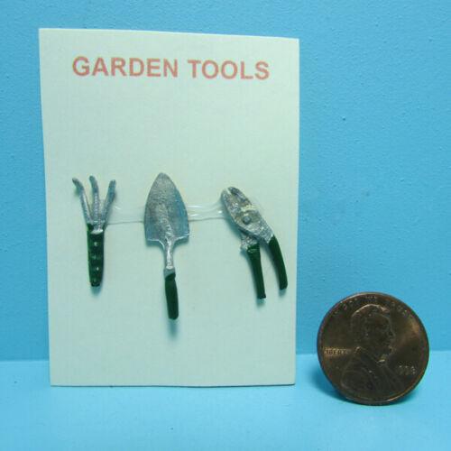 Shovel /& Shears ~ G0702 Dollhouse Miniature Garden Tool Set Trowel