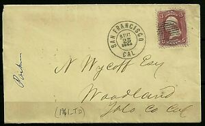 USA Stamps: 1863 Civil War Period Cover. San Francisco to Woodland, Yolo Cty.