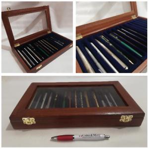 Cofanetto-per-15-Penne-da-collezione-vetrinetta-in-legno-Mogano-Coins-amp-More