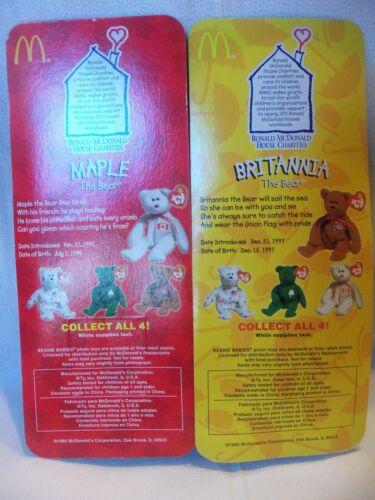 TY TEENIE BEANIE BABIES Complete Set of 4 1999 Ronald McDonald House Charities
