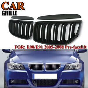 Front Bumper Kidney Grill Replacement Dual Slat Grilles for E90 3-Series E9 K1G9
