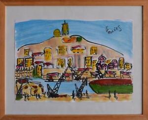 Dessin Au Feutre Et Crayon Le Vieux Port De Marseille Et Notre Dame