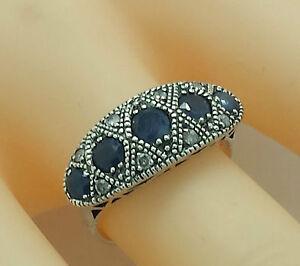 saphir-diamants-anneau-saphirs-Argent-925-style-antique-argent-sterling