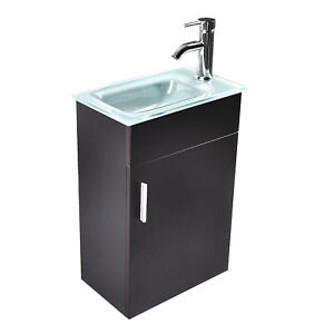 16 Small Bathroom Vanity Floating Wall Mounted Glass Sink Faucet