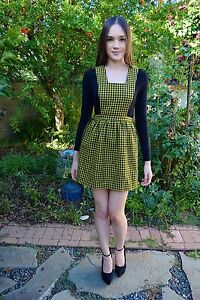 dea5633353e21 Image is loading Vintage-1960s-Yellow-Black-Checkered-Gingham-Plaid -Schoolgirl-