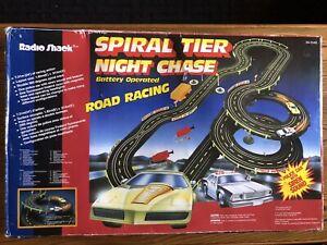 Vintage Radio Shack Spiral Tier Night Chase Slot Racing Set