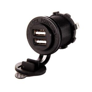 Dual-USB-chargeur-prise-sortie-2-1A-Panel-Mount-moto-auto-etanche-iPhoneiPad-GPS