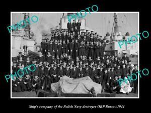 OLD-POSTCARD-SIZE-PHOTO-POLAND-MILITARY-POLISH-NAVY-ORP-BURZA-SHIPS-CREW-c1944