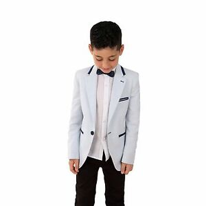 3ac30f227 Boys Summer Sky Blue Linen Jacket Kids Toddler Slim Fit Wedding ...