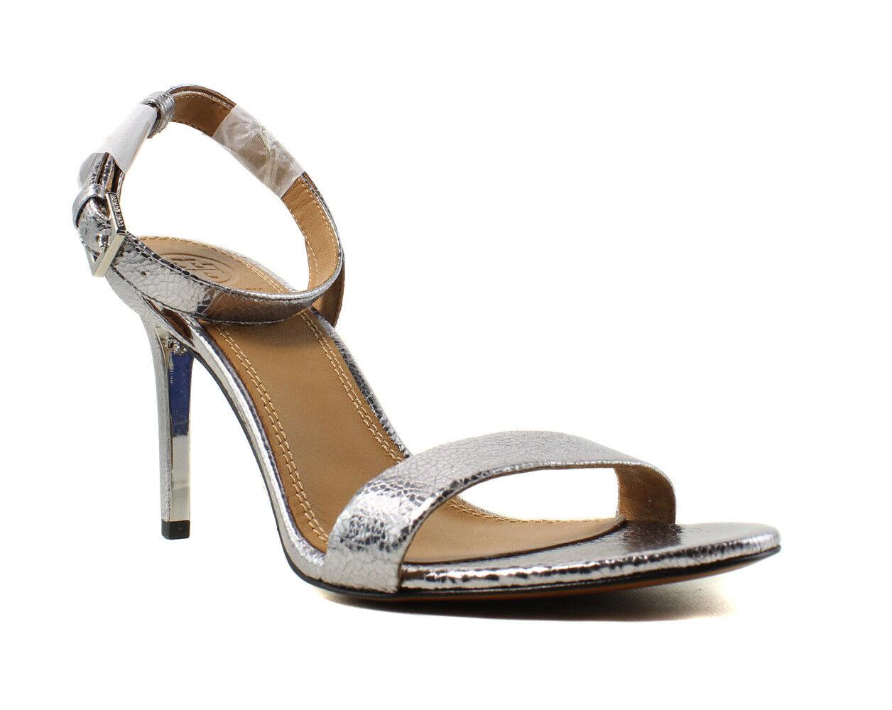 NEU Tory Burch Damenschuhe Silver Ankle Strap Heels Größe 11