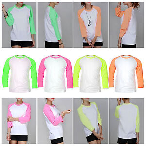 damen raglan rmel neon farben baseball top t shirt. Black Bedroom Furniture Sets. Home Design Ideas