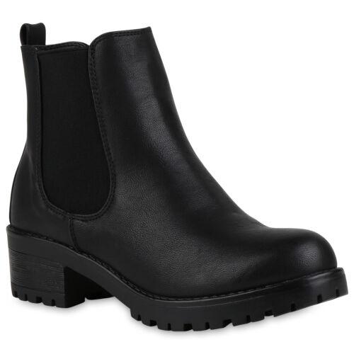 Gefütterte Damen Stiefeletten Plateau Chelsea Boots 818746 Schuhe