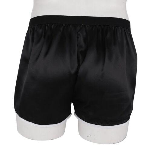 Men/'s Summer Silky Swim Shorts Frilly Satin Boxer Briefs Casual Loose Underwear