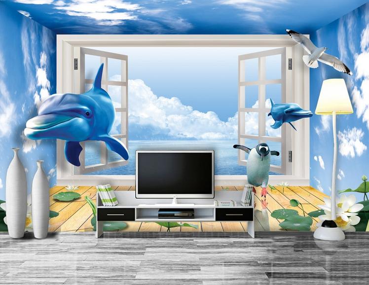 3D Sky Windows Dolphins 889 Wallpaper Mural Paper Wall Print Wallpaper Murals UK