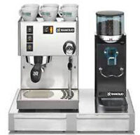 Espresso Machine Maker Rancilio Silvia V4 & Rocky Doserless Grinder With Base