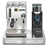 Espresso Machine Maker Rancilio Silvia V4 & Rocky Doserless Grinder With Base