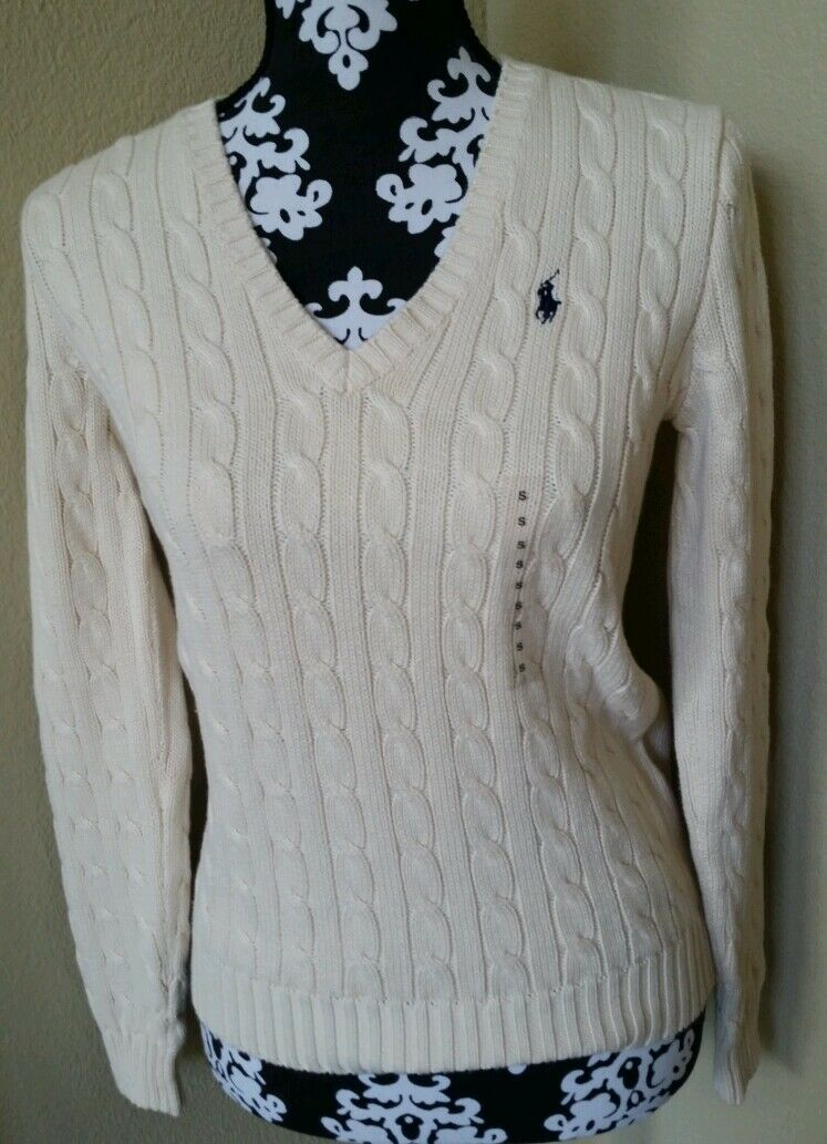 New Women's Ralph Lauren Sport Sweater Cream Size XS XS XS 72a5a1