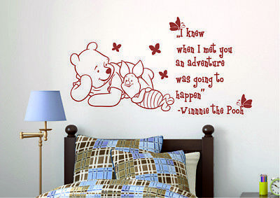 Winnie The Pooh Wall Decal Quote Piglet Vinyl Stickers Kids Nursery Decor KI165