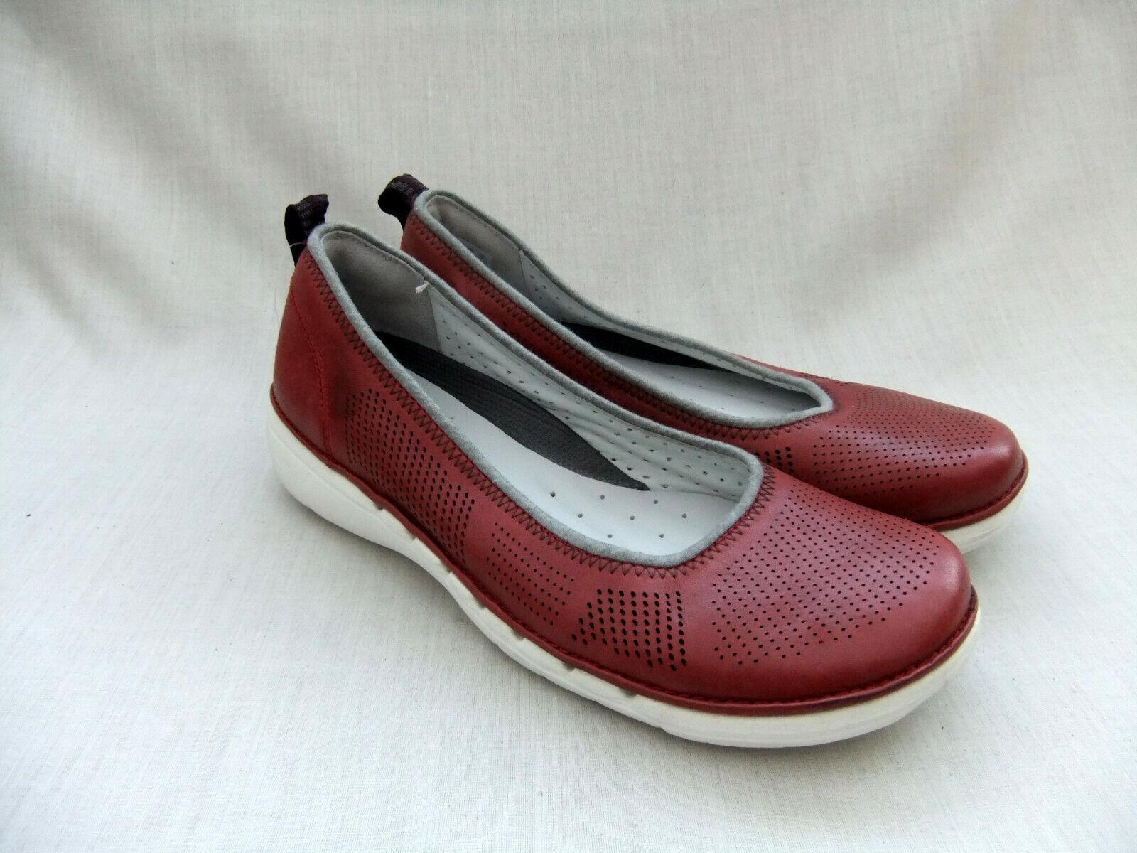 Zapatos De De De Cuero nuevo CLARKS UNSTRUCTUrojo UN Elita Mujer Rojo Talla 4 37  moda clasica