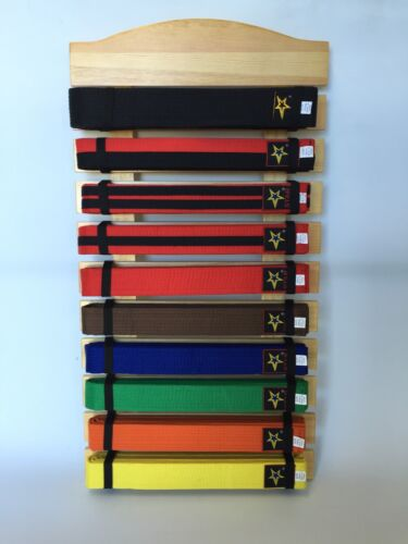 Ten Level Martial Arts Karate Tae Kwon Do Judo Belt Display hand made & thicker